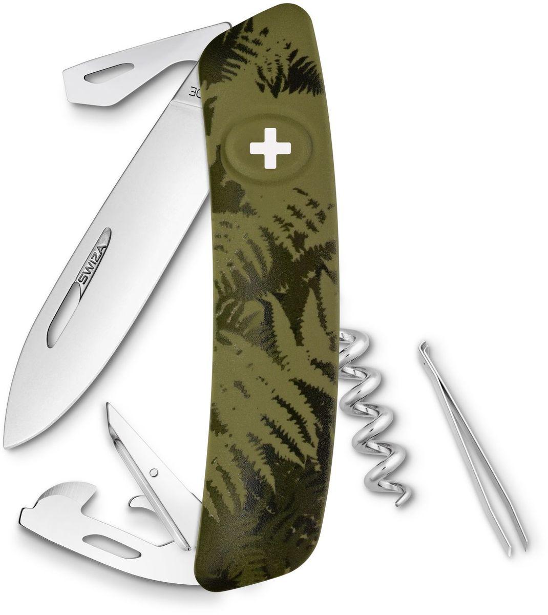 Нож швейцарский SWIZA С03, цвет: темно-зеленый, длина клинка 7,5 см1.3713.T7Швейцарский нож (SWIZA С03) с его революционной формой и безопасной рукояткой, легко раскладываемой ручкой - самый удобный и простой в использовании швейцарский нож на все времена. Эргономично изогнутая форма ножа обеспечивает более легкий доступ к инструментам, а пазы позволяют легко их открывать, как левой, так и правой рукой.1. нож перочинный, 2.Штопор, 3. ример/дырокол 4. шило, 5. безопасная блокировка лезвий, 6. пинцет 7. консервный нож, 8 Wire Bender (для проволоки), 9 Отвертка №1, 10. Отвертка №3, 11. Открывалка для бутылок