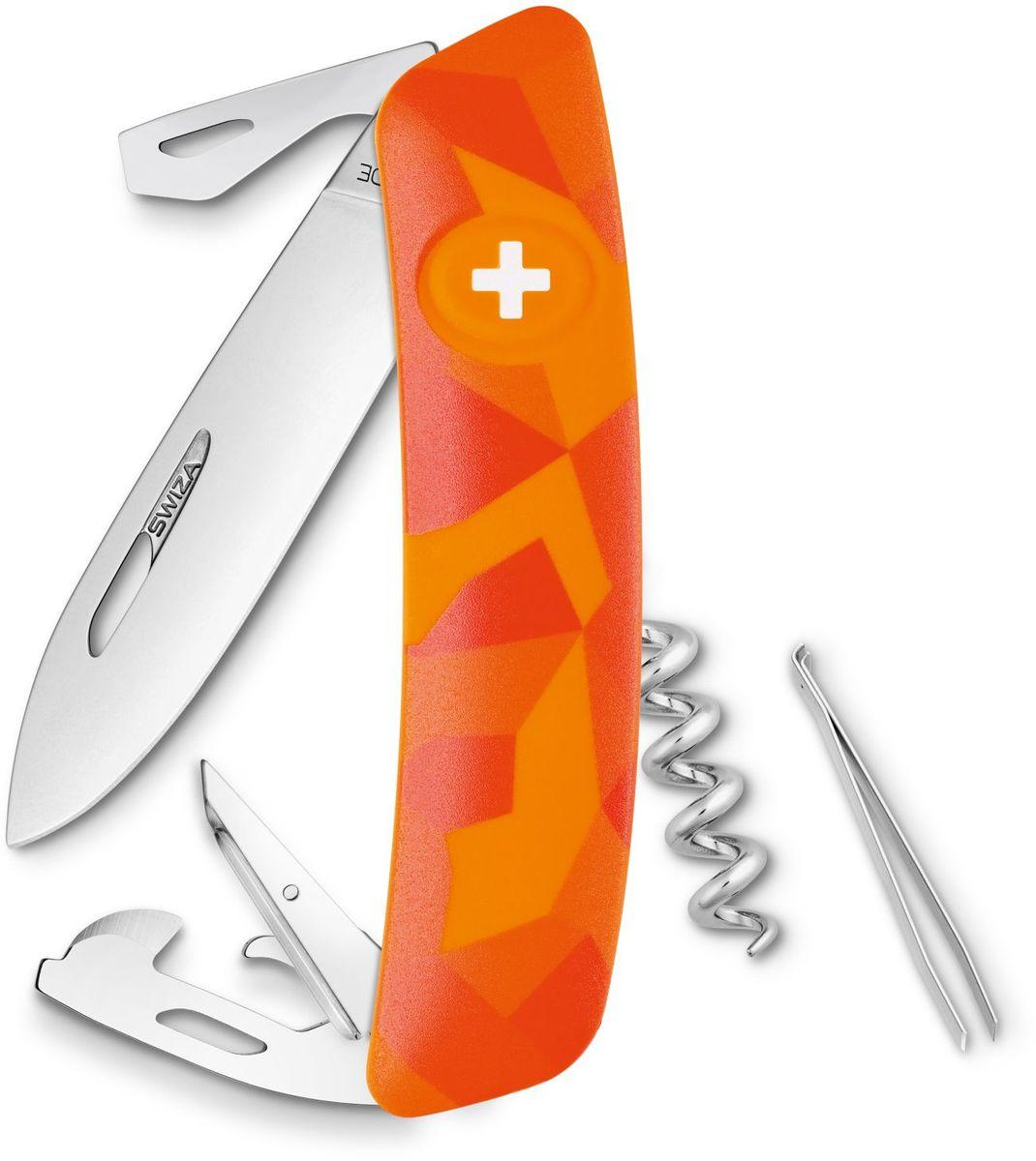 Нож швейцарский SWIZA С03, цвет: оранжевый, длина клинка 7,5 см000518Швейцарский нож (SWIZA С03) с его революционной формой и безопасной рукояткой, легко раскладываемой ручкой - самый удобный и простой в использовании швейцарский нож на все времена. Эргономично изогнутая форма ножа обеспечивает более легкий доступ к инструментам, а пазы позволяют легко их открывать, как левой, так и правой рукой.1. нож перочинный, 2.Штопор, 3. ример/дырокол 4. шило, 5. безопасная блокировка лезвий, 6. пинцет 7. консервный нож, 8 Wire Bender (для проволоки), 9 Отвертка №1, 10. Отвертка №3, 11. Открывалка для бутылок