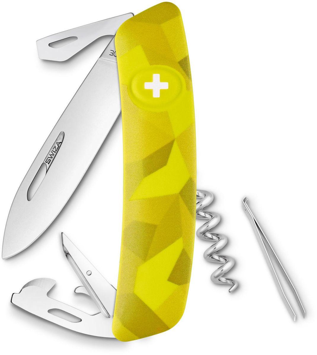 Нож швейцарский SWIZA С03, цвет: желтый, длина клинка 7,5 см1.3713.941Швейцарский нож (SWIZA С03) с его революционной формой и безопасной рукояткой, легко раскладываемой ручкой - самый удобный и простой в использовании швейцарский нож на все времена. Эргономично изогнутая форма ножа обеспечивает более легкий доступ к инструментам, а пазы позволяют легко их открывать, как левой, так и правой рукой.1. нож перочинный, 2.Штопор, 3. ример/дырокол 4. шило, 5. безопасная блокировка лезвий, 6. пинцет 7. консервный нож, 8 Wire Bender (для проволоки), 9 Отвертка №1, 10. Отвертка №3, 11. Открывалка для бутылок