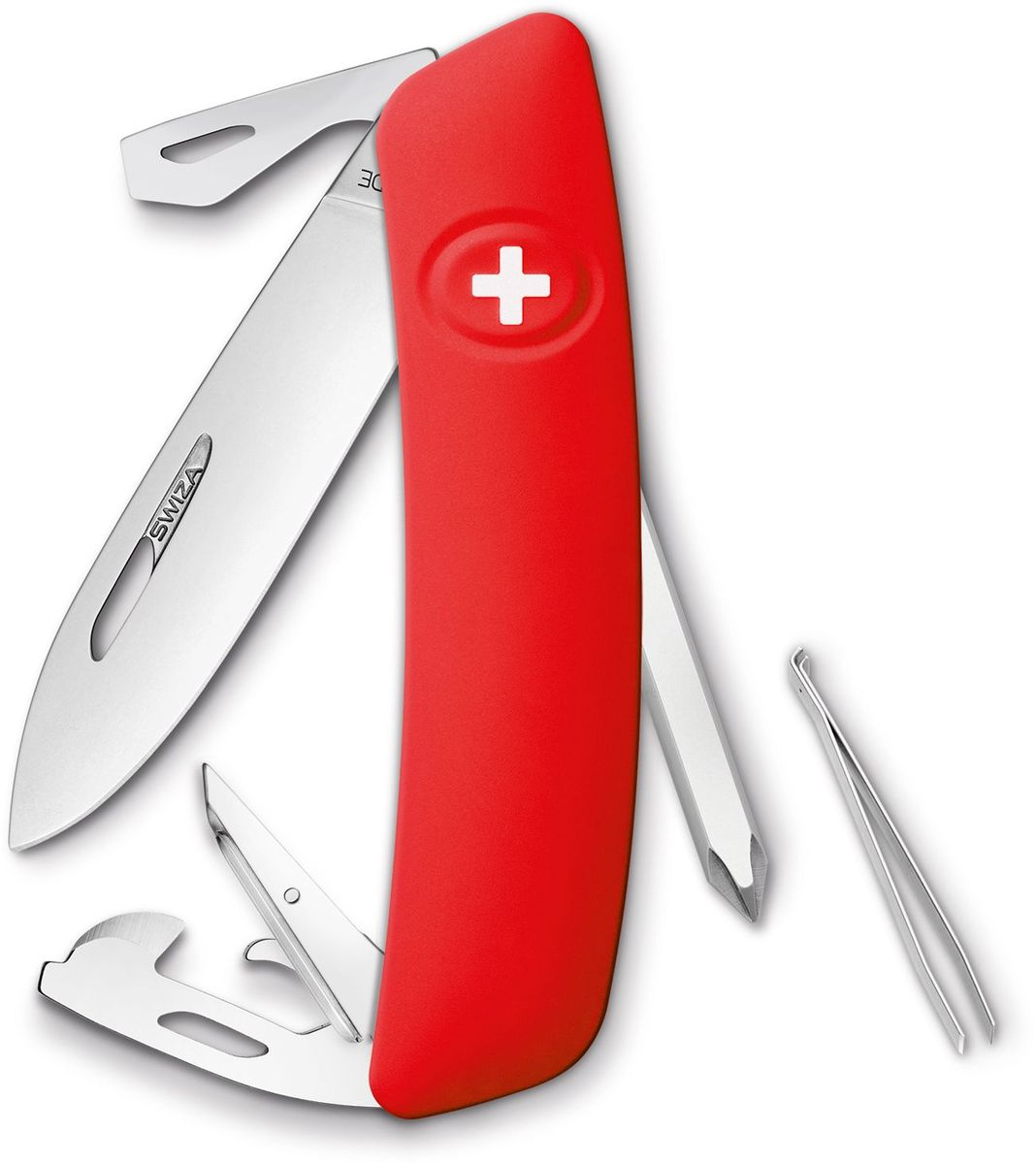 Нож швейцарский SWIZA D04, цвет: красный, длина клинка 7,5 смM-sizeШвейцарский нож (SWIZA D04) с его революционной формой и безопасной рукояткой, легко раскладываемой ручкой - самый удобный и простой в использовании швейцарский нож на все времена. Эргономично изогнутая форма ножа обеспечивает более легкий доступ к инструментам, а пазы позволяют легко их открывать, как левой, так и правой рукой.1. нож перочинный, 2. отвертка Phillips , 3. ример/дырокол 4. шило, 5. безопасная блокировка лезвий, 6. пинцет 7. консервный нож, 8 Wire Bender (для проволоки), 9 Отвертка №1, 10. Отвертка №3, 11. Открывалка для бутылок
