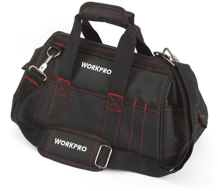Сумка для инструментов WORKPRO, 26 карманов, 42 х 22 х 23 см. W081022AT-CS-07Профессиональная сумка для инструментов WORKPRO разработана с учетом высоких требований к надежности, безопасности и удобства использования. Размеры сумки 420х220х230 мм. Вес - 1200 гр.Материал сумки – износостойкий водоотталкивающий материал: укрепленная двойная материя полиэстер 500D + 500D.Дно сумки – ударопрочный морозостойкий пластик, защищает от воды и загрязнений, устойчиво к истиранию и механическому воздействию.Конструкция сумки позволяет широко открывать ее по всей длине для удобства доступа. В лицевой части сумки вставлен металлический каркас, который позволяет сумке держать форму в раскрытом состоянии. Молния сумки имеет 2 замка.Сумка оснащена 8 карманами внутри, 10 карманами снаружи.На сумке предусмотрены 8 специальных шлевок снаружи для размещения тонкого небольшого инструмента. На ручках сумки предусмотрена мягкая накладка на «липучке» для комфортного ношения сумки в руках.Сумка укомплектована регулируемым ремнем с мягкой плечевой накладкой для ношения через плечо.Швы сумки надёжно прошиты прочными капроновыми нитями.Современная и практичная конструкция предназначена для длительного использования сумки в качестве хранения и транспортировки инструментов. Рекомендованная допустимая нагрузка 12 кг.Страна производства: Китай.