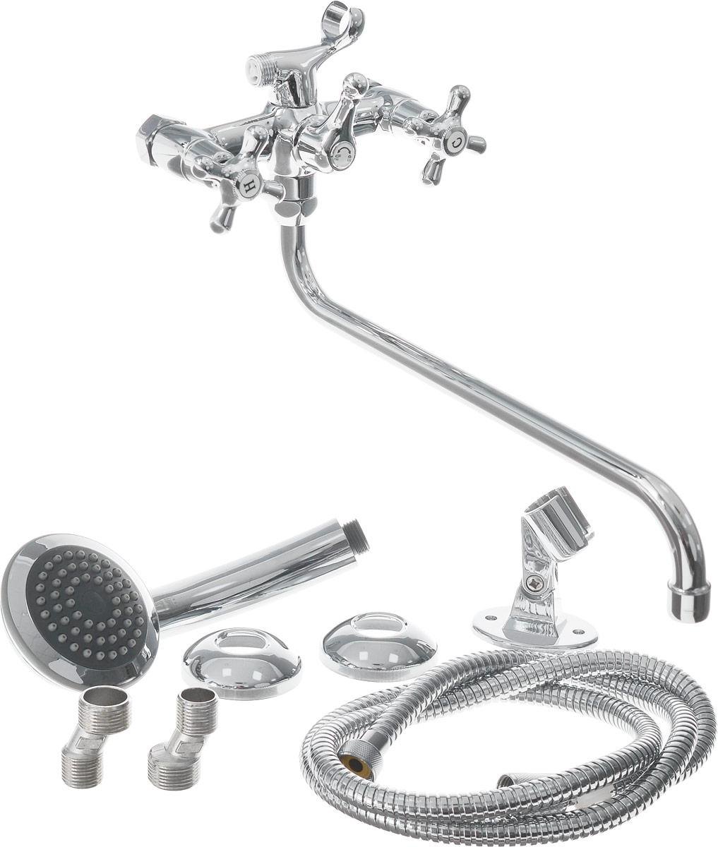 Смеситель для ванны и душа Smartsant Смарт-Кросс, цвет: хромVINSB00i03Двуручковый смеситель Smartsant Смарт-Кросс с керамическими кран-буксами (угол поворота 180°) выполнен из высококачественной латуни. Смеситель оснащен аэратором Neoperl Cascade для равномерного распределения струи воды. Стойкое хромированное покрытие обеспечивает изделию долгий срок эксплуатации. Смеситель оснащен защитой от ожога.В комплекте гибкая подводка G 1/2. Излив: 35 см.Диаметр лейки: 9,5 см.