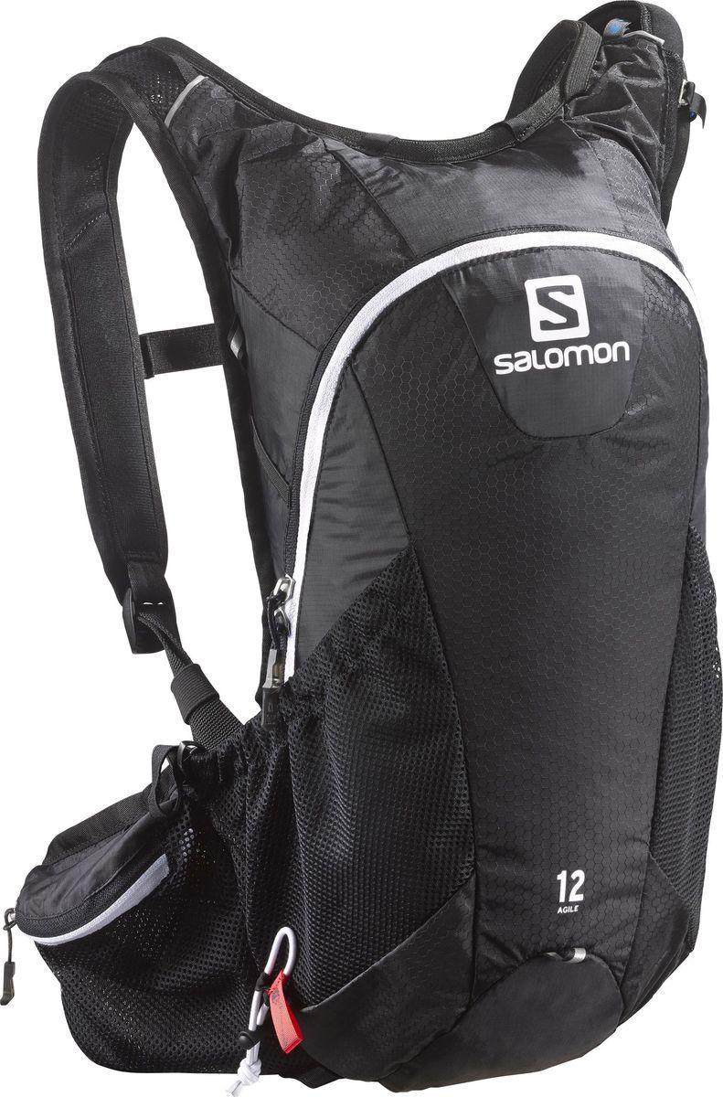 Рюкзак спортивный Salomon Agile 12 Set, цвет: черный. L37375100Z90 blackРюкзак Salomon Agile 12 Set выполнен из высококачественного полиамида. Рюкзак имеет одно вместительное отделение на застежке-молнии. Рюкзак оснащен мягкими удобными лямками, длина которых регулируется с помощью пряжек. На внешней стороне расположены два открытых кармана-сетки. Предназначенный в первую очередь для трейл-раннинга, этот легкий эластичный рюкзак объемом 12 литров очень удобен и отлично сбалансирован для забегов на средние и длинные дистанции. Подойдет также любителям горного велосипеда и других активных видов спорта.