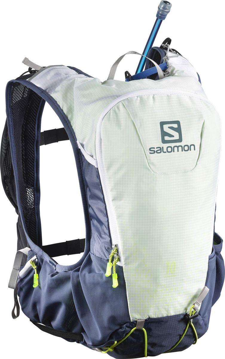 Рюкзак спортивный с гидросистемой Salomon Skin Pro 10 Set, цвет: синий. L39275600Z90 blackSkin Pro 10 Set - это легкий, плотно прилегающий рюкзак универсальной формы. Рюкзак имеет одно вместительное отделение и закрывается на застежку-молнию. Рюкзак оснащен мягкими удобными лямками, длина которых регулируется с помощью пряжек. Изделие дополнено удобной ручкой для переноски или подвешивания. Подходит для любителей бега, туризма и велоспорта. Эластичная конструкция Sensifit от Salomon и новая регулируемая система ремешков улучшают устойчивость и позволяют адаптировать рюкзак под любую комплекцию. Универсальная и устойчивая система для переноски снаряжения с удобным креплениями для палок, ледоруба, шлема и коврика.