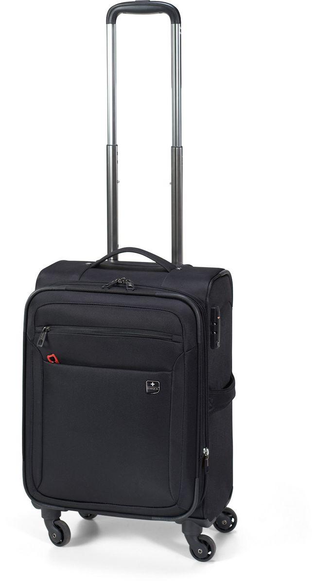 Чемодан SWIZA Eventual 25, цвет: черный, 72,5 х 44,5 х 31 см332515-2800 Стильный мягкий небольшой чемоданчик EVENTUAL подходит для ручной клади любого авиа перевозчика. Обеспечивая достаточно места для вещей для 2-3-х дневного путешествия со всеми наружными и внутренними карманами. С его колесиками, движущимися в разных направлениях, гарантируется легкая маневренность