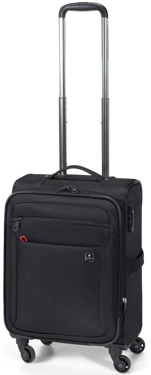 Чемодан SWIZA Eventual 20, цвет: черный, 54 х 36 х 23 смLSS.1000.01 Стильный мягкий небольшой чемоданчик EVENTUAL подходит для ручной клади любого авиа перевозчика. Обеспечивая достаточно места для вещей для 2-3-х дневного путешествия со всеми наружными и внутренними карманами. С его колесиками, движущимися в разных направлениях, гарантируется легкая маневренность