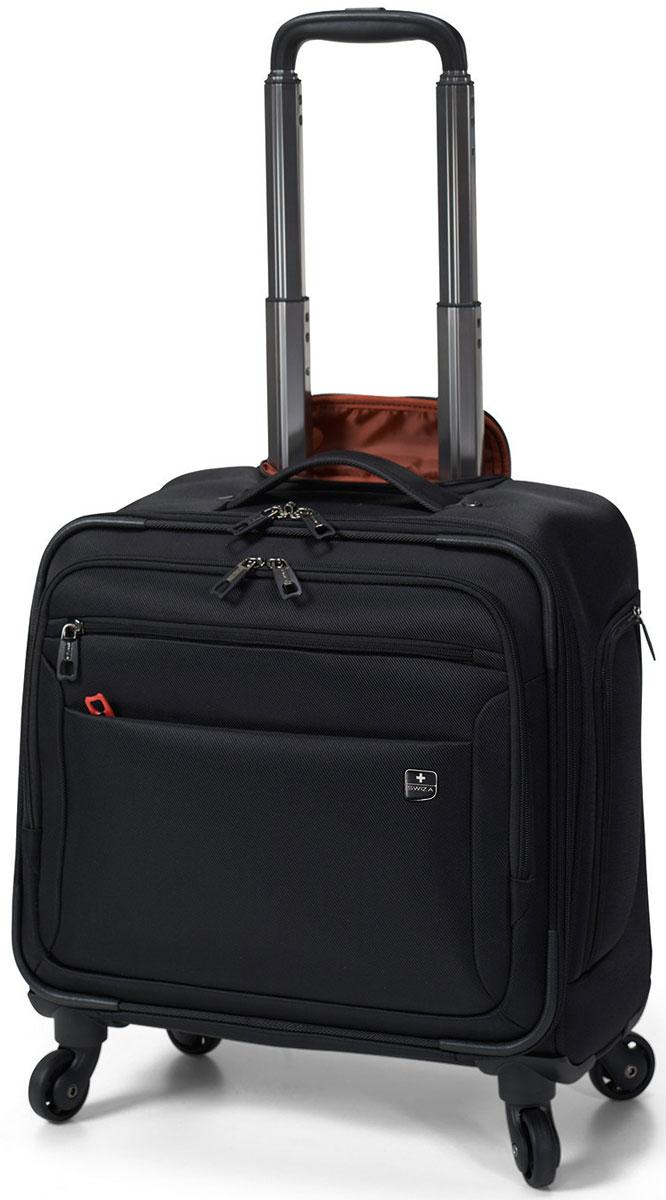 Чемодан SWIZA Cassus, цвет: черный, 44 х 40 х 22 смLWT.1001.01 Этот классический, многофункциональный чемодан на колесах разработан для профессионального повседневного использования, деловых поездок или путешествий в выходные. Чемодан CASSUS имеет удобный наружный карман для дорожных документов и устройств, а также два основных отделения, включающие карманы с надежной подкладкой для ноутбука или планшета, он располагает достаточным пространством для бумажных документов и одежды, необходимой для непродолжительных поездок