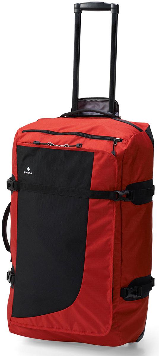 Сумка дорожная SWIZA Continuas L,на колесах, цвет: красный, 69 х 38 х 28 смLWD.1003.03 Наша сумка CONTINUAS на колесах - это лучшая сумка для активного путешественника, которому необходимо многофункциональное и очень износостойкое решение для любой поездки. Изготовлен из прочного нейлона 600D и имеет большое основное отделение, карман на молнии для многофункционального использования, прижимающий ремешок, легко вращающиеся износостойкие колеса и телескопическую ручку. С такой сумкой можно собираться в путь в любой пункт назначения и на любое время