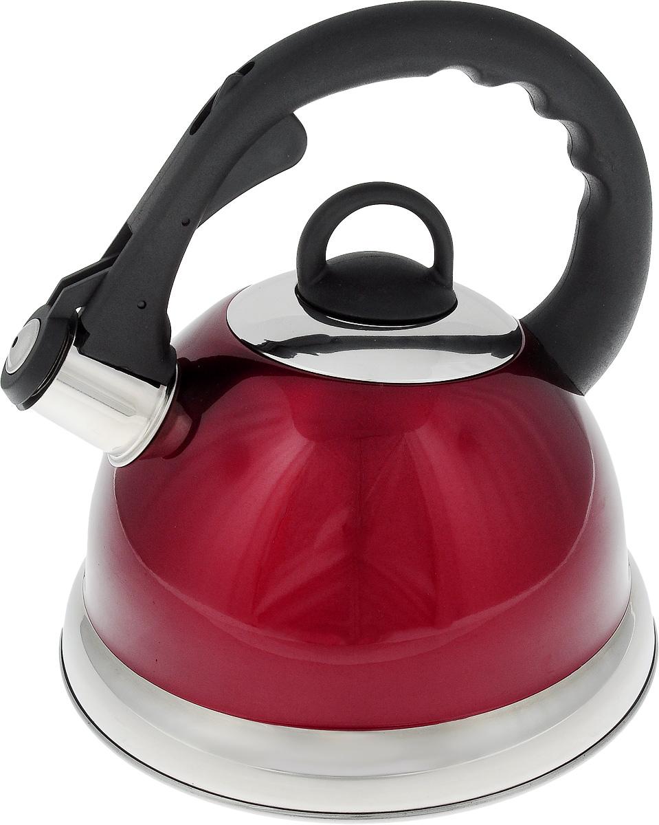Чайник Mayer & Boch, со свистком, цвет: красный, 2,8 л. 22675ATT850Чайник со свистком Mayer & Boch изготовлен из высококачественной нержавеющей стали. Капсульное дно обеспечивает равномерный и быстрый нагрев, поэтому вода закипает гораздо быстрее, чем в обычных чайниках. Носик чайника оснащен откидным свистком, звуковой сигнал которого подскажет, когда закипит вода. Свисток открывается нажатием кнопки на ручке, сделанной из пластика.Чайник Mayer & Boch - качественное исполнение и стильное решение для вашей кухни. Подходит для всех типов плит, включая индукционные. Можно мыть в посудомоечной машине.Высота чайника (без учета ручки и крышки): 13,5 см.Высота чайника (с учетом ручки и крышки): 24 см.Диаметр чайника (по верхнему краю): 10,5 см. Диаметр основания: 22 см. Диаметр индукционного дна: 16 см.