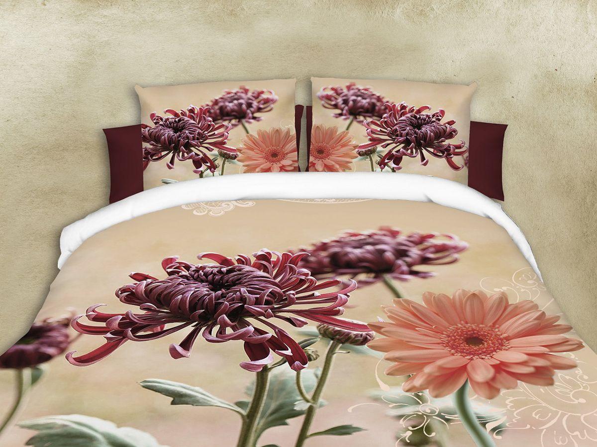 Комплект белья Cleo Герберы, 1,5-спальный, наволочки 70х70FD-59Комплект постельного белья из полисатина Cleo - это шелковая прохлада в любое время года! Тонкое, средней плотности, с шелковистой поверхностью и приятным блеском постельное белье устойчиво к износу, не выгорает, не линяет, рассчитано на многократные стирки. Двойная скрутка волокон позволяет получать довольно плотный, прочный на разрыв материал. Легко отстирывается, быстро сохнет и самой важно для хозяек - не мнется! Комплект состоит из пододеяльника, простыни и двух наволочек.