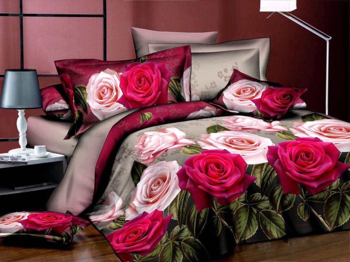Комплект белья Cleo Притяжение, 1,5-спальный, наволочки 70х70MT-1951Комплект постельного белья из полисатина Cleo - это шелковая прохлада в любое время года! Тонкое, средней плотности, с шелковистой поверхностью и приятным блеском постельное белье устойчиво к износу, не выгорает, не линяет, рассчитано на многократные стирки. Двойная скрутка волокон позволяет получать довольно плотный, прочный на разрыв материал. Легко отстирывается, быстро сохнет и самой важно для хозяек - не мнется! Комплект состоит из пододеяльника, простыни и двух наволочек.