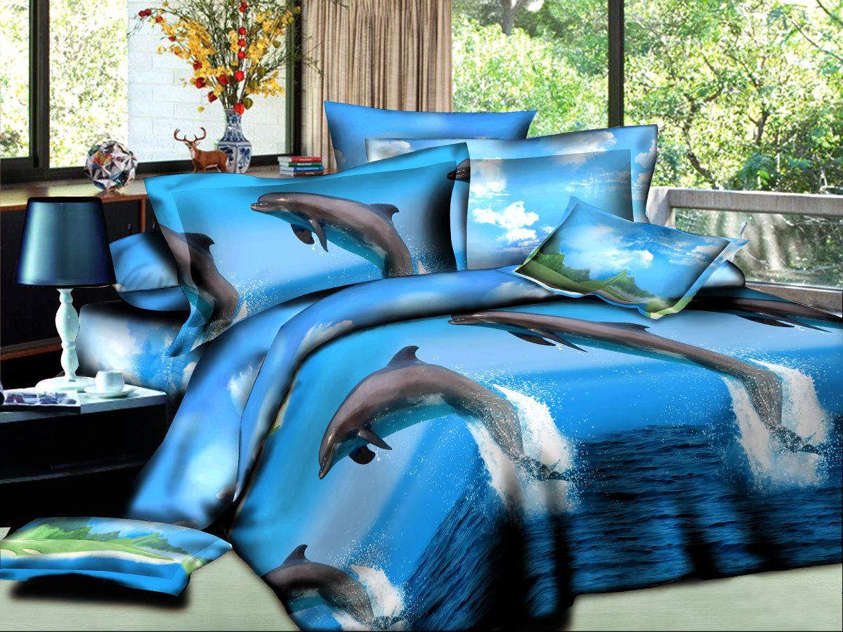 Комплект белья Cleo Дельфины, евро, наволочки 50х70, 70х70391602Комплект постельного белья из полисатина Cleo - это шелковая прохлада в любое время года! Тонкое, средней плотности, с шелковистой поверхностью и приятным блеском постельное белье устойчиво к износу, не выгорает, не линяет, рассчитано на многократные стирки. Двойная скрутка волокон позволяет получать довольно плотный, прочный на разрыв материал. Легко отстирывается, быстро сохнет и самой важно для хозяек - не мнется! Комплект состоит из пододеяльника, простыни и четырех наволочек.