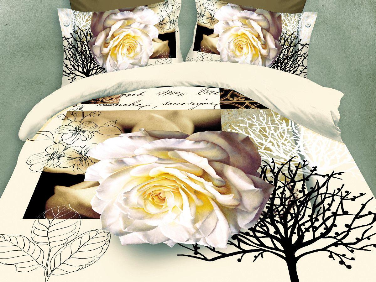 Комплект белья Cleo Роза декор, евро, наволочки 50х70, 70х70391602Комплект постельного белья из полисатина Cleo - это шелковая прохлада в любое время года! Тонкое, средней плотности, с шелковистой поверхностью и приятным блеском постельное белье устойчиво к износу, не выгорает, не линяет, рассчитано на многократные стирки. Двойная скрутка волокон позволяет получать довольно плотный, прочный на разрыв материал. Легко отстирывается, быстро сохнет и самой важно для хозяек - не мнется! Комплект состоит из пододеяльника, простыни и четырех наволочек.