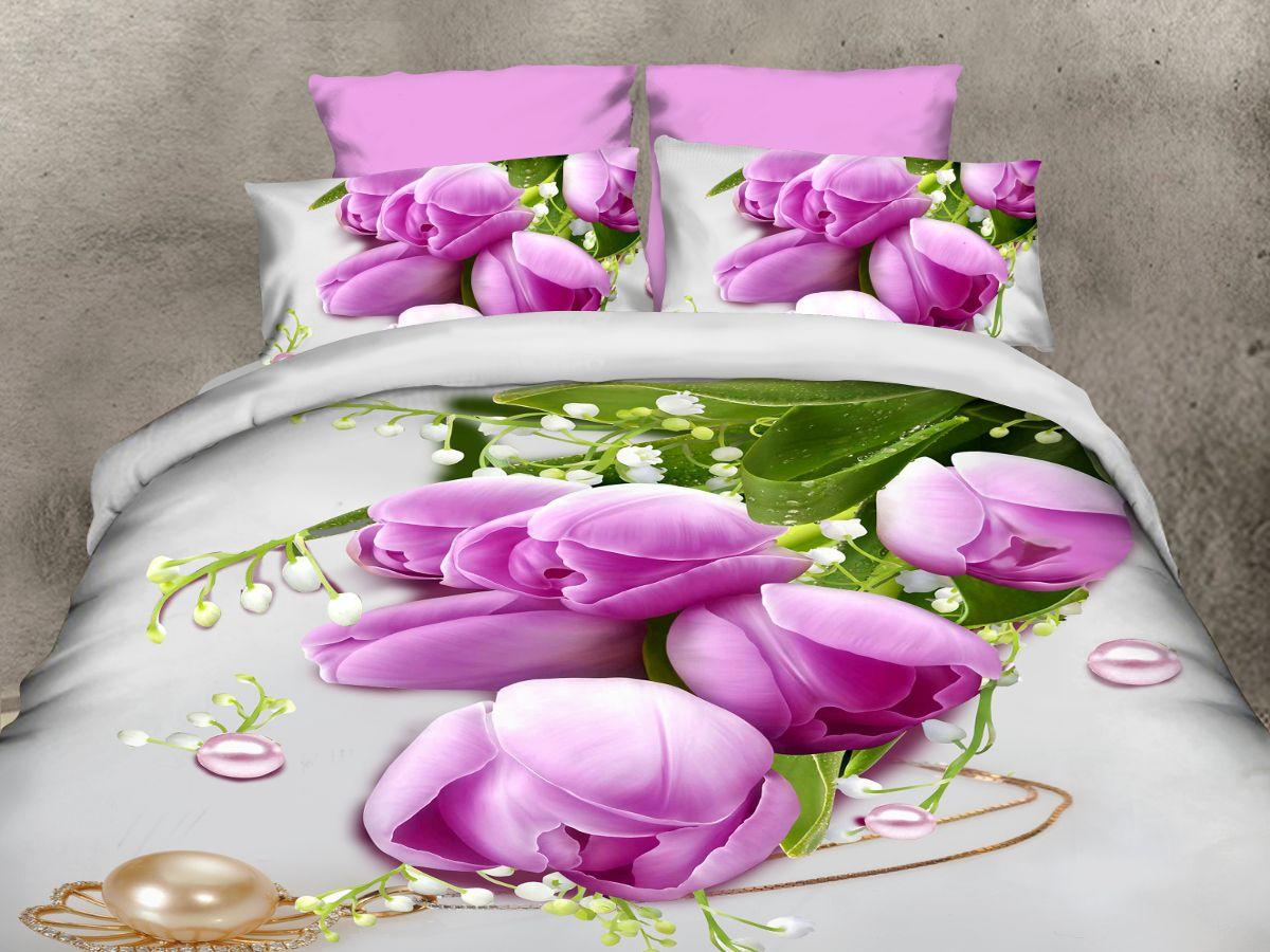 Комплект белья Cleo Тюльпаны и ландыши,2-спальный, наволочки 70х70CLP446Комплект постельного белья из полисатина Cleo - это шелковая прохлада в любое время года! Тонкое, средней плотности, с шелковистой поверхностью и приятным блеском постельное белье устойчиво к износу, не выгорает, не линяет, рассчитано на многократные стирки. Двойная скрутка волокон позволяет получать довольно плотный, прочный на разрыв материал. Легко отстирывается, быстро сохнет и самой важно для хозяек - не мнется! Комплект состоит из пододеяльника, простыни и двух наволочек.