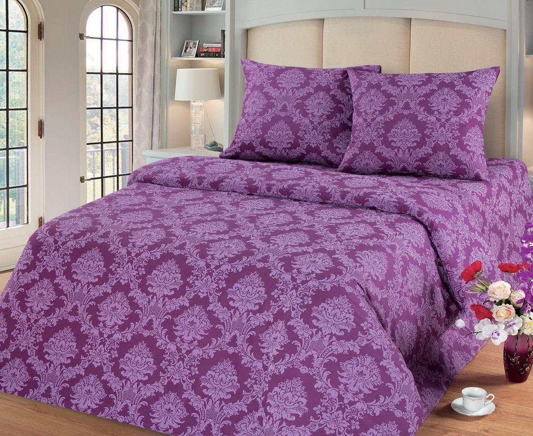 Комплект белья Cleo Сапфир, 2-х спальное, наволочки 70х70, цвет: фиолетовый68/5/4Комплект постельного белья Cleo выполнен из поплина в романтическом стиле, визуально текстура нанесения рисунка напоминает жаккард. Поплин - 100% хлопок, ему характерен репсовый эффект, который образуется методом чередования толстых и тонких нитей, в результате на поверхности появляются рубчики, создавая неравномерность полотна. Постельное белье из поплина обладает рядом преимуществ: мягкое и шелковистое, натуральное, экологически чистое, гипоаллергенное, прочное, не деформируется, не растягивается и держит форму, пропускает воду и воздух, прекрасно стирается в прохладной воде. Комплект состоит из пододеяльника, двух наволочек, простыни.