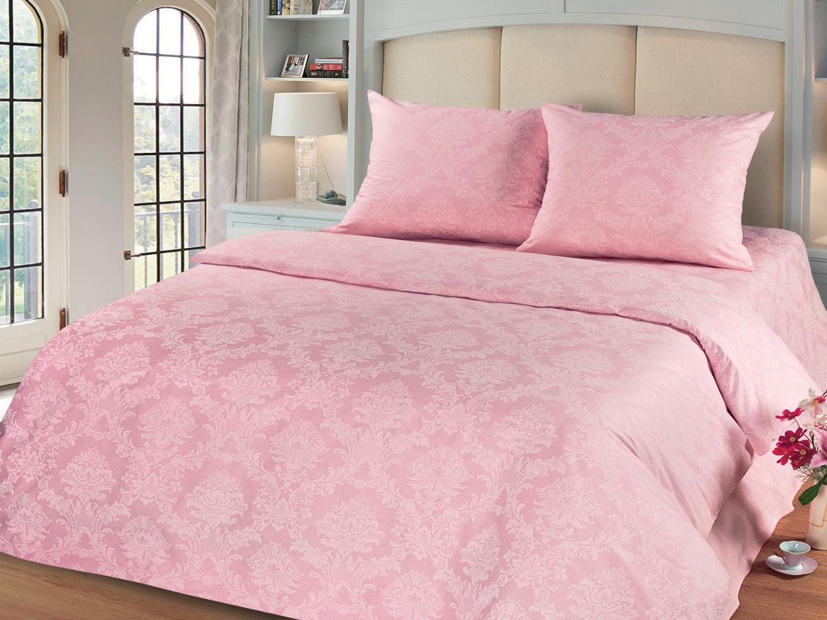Комплект белья Cleo Агат, евро, наволочки 50х70, 70х70, цвет: розовый10503Комплект постельного белья Cleo выполнен из поплина в романтическом стиле, визуально текстура нанесения рисунка напоминает жаккард. Поплин - 100% хлопок, ему характерен репсовый эффект, который образуется методом чередования толстых и тонких нитей, в результате на поверхности появляются рубчики, создавая неравномерность полотна. Постельное белье из поплина обладает рядом преимуществ: мягкое и шелковистое, натуральное, экологически чистое, гипоаллергенное, прочное, не деформируется, не растягивается и держит форму, пропускает воду и воздух, прекрасно стирается в прохладной воде. Комплект состоит из пододеяльника, четырех наволочек, простыни.
