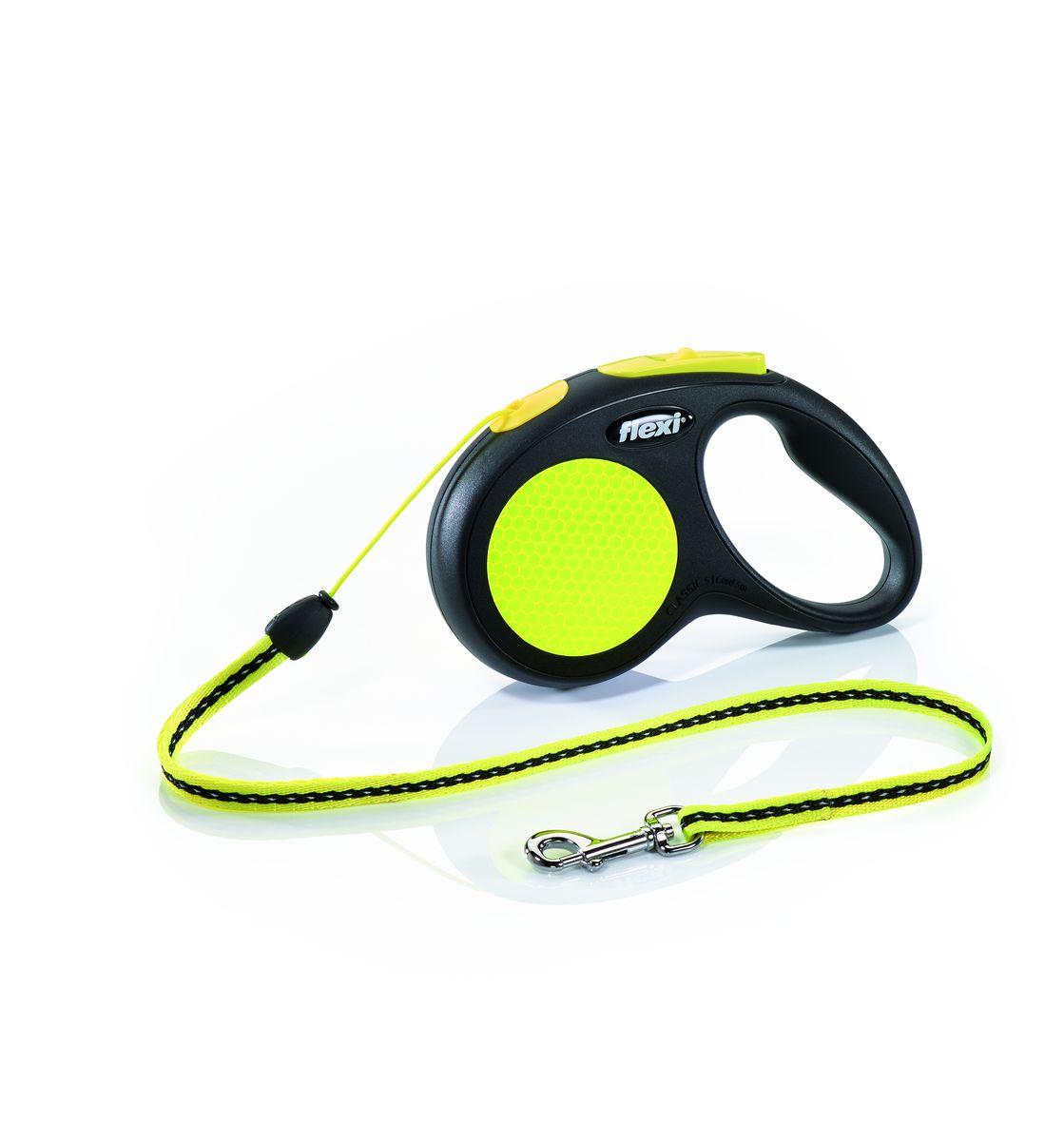 Поводок-рулетка Flexi Neon New Classic S, трос, для собак весом до 12 кг, 5 м25215Тросовый поводок-рулетка предназначен для выгула собак весом до 12 кг. Рулетки flexi производятся в Германии более 40 лет и особое внимание уделяется обеспечению безопасности и комфорта использования: - обновленная эргономичная кнопка системы торможения - запатентованная тормозная система- надежный карабин - светоотражающая наклейка на корпусе рулетки - яркий трос неонового цвета хорошо заметен в сумерки и туман Запатентованая система сматывания и фиксации длины — дополнительное удобство, помогающее контролировать поведение животного. Корпус рулетки выполнен из ударопрочного пластика.