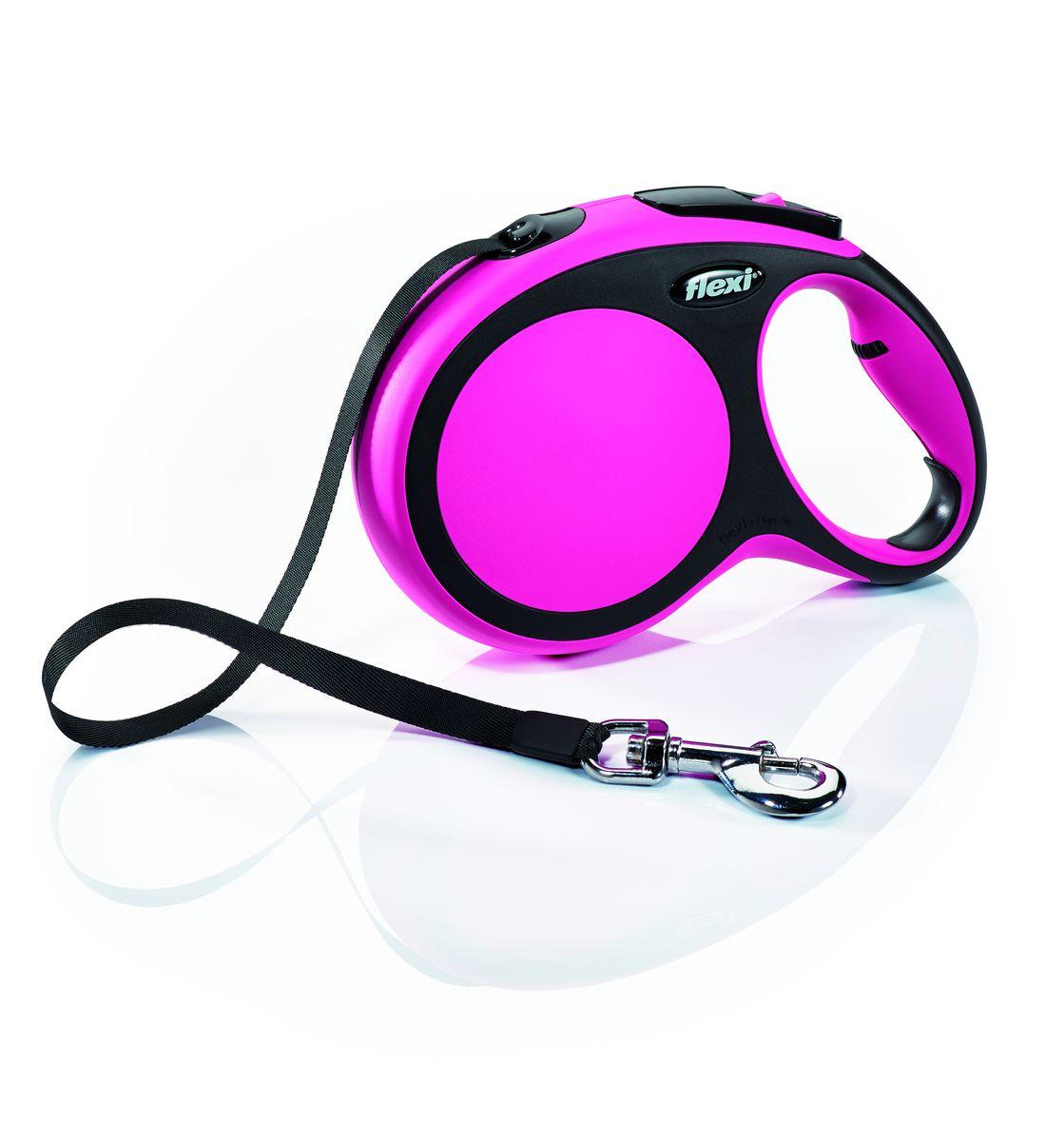 Поводок-рулетка Flexi New Comfort L, лента, для собак весом до 50 кг, цвет: черный, розовый, 8 м0120710Ленточный поводок-рулетка обеспечивает собаке свободу движения, что идет на пользу здоровью и радует вашего четвероногого друга. Рулетка очень проста в использовании. Оснащена кнопками кратковременной и постоянной фиксации. Рулетку можно оснастить - мультибоксом для лакомств или пакетиков для сбора фекалий, LED подсветкой корпуса.Прочный корпус, хромированная застежка и светоотражающие элементы.Лента поводка автоматически сматывается и поводок в процессе использования не провисает, не касается грунта и таким образом не пачкается и не перетирается. Поводок не нужно подбирать руками когда питомец подошел ближе, таким образом ваши руки всегда чистые.На рукоятке имеется регулировка размера для адаптации под размер рукиМаксимальный вес питомца: 50 кгДлина: 8 м
