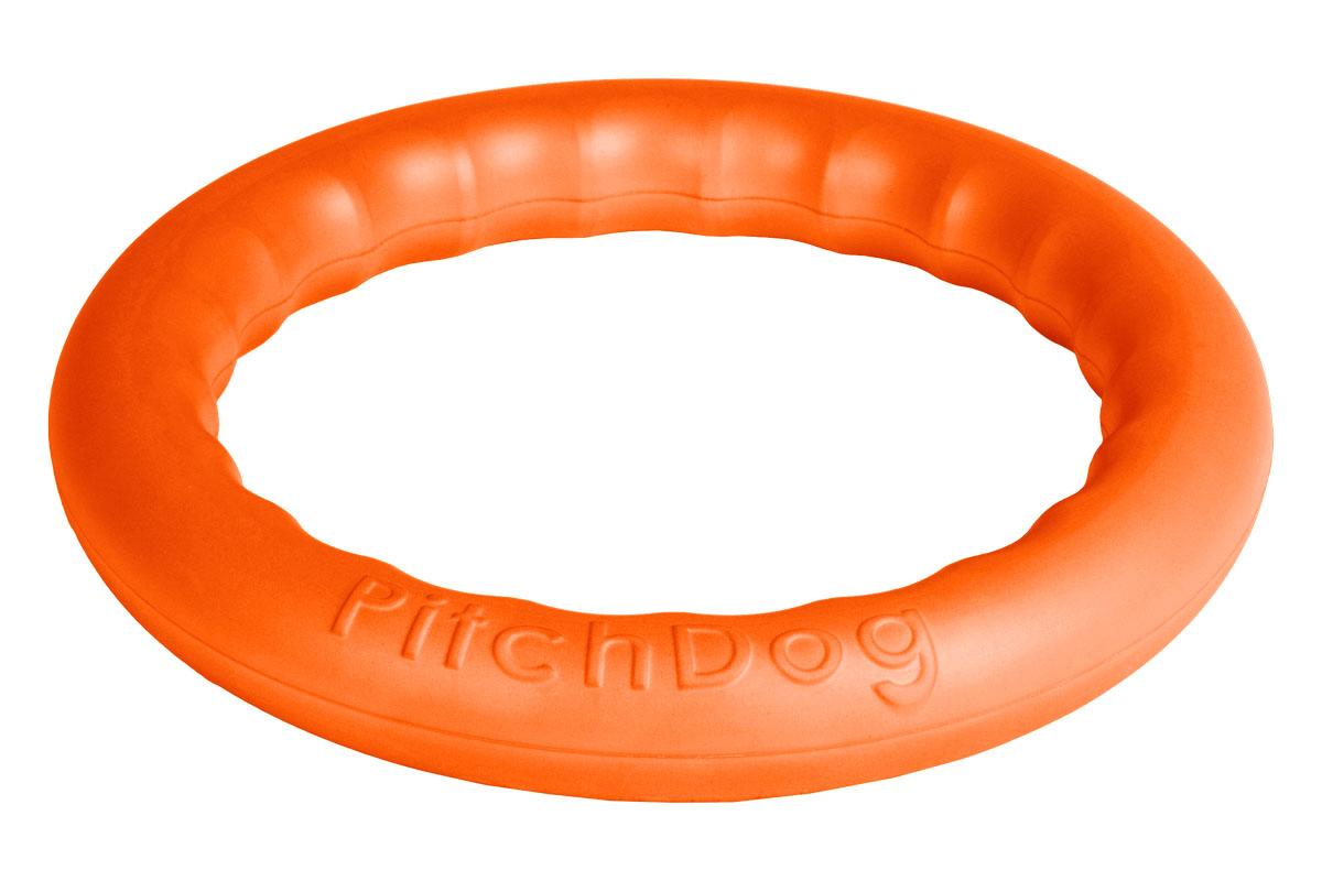 Кольцо игровое для аппортировки PitchDog, цвет: оранжевый, диаметр 20 см5608009Инновационная игрушка для собак всех пород и возрастов, предназначенная как для повседневной игры, так и для использования в качестве идеального апортировочного снаряда для занятий Pitch & Go (питч энд гоу). Изготовлена из особого легкого и безопасного материала, который очень нравится собакам и позволяет играть с PitchDog (ПитчДог) как на суше, так и в воде.Диаметр 20 см.