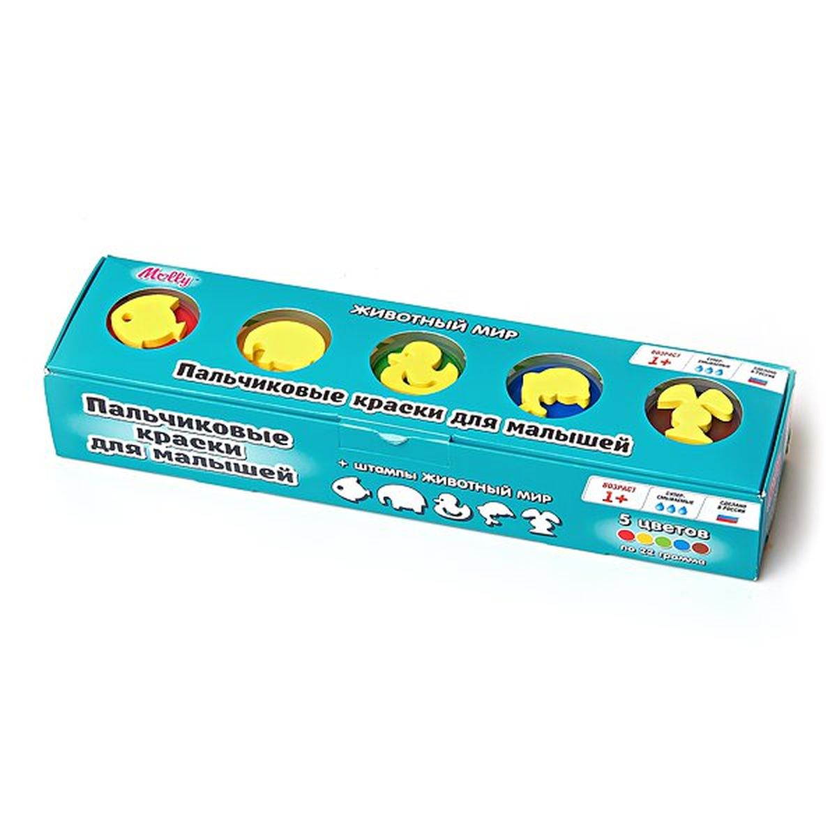 Molly Краски пальчиковые со штампами Животный мирFS-36052Замечательные пальчиковые краски Molly Животный мир отлично подойдут для первого творчества малыша. В комплект входят 5 разноцветных баночек с краской по 22 мл.Ими можно рисовать с помощью кисточки, а можно выводить узоры прямо пальчиками, что непременно понравится крохе.Краски изготовлены из натуральных ингредиентов, нетоксичны и полностью безопасны для малыша.Благодаря своему составу они отлично смываются с рук и отстирываются с одежды, а их консистенция позволяет смешивать различные цвета, получая новые уникальные оттенки.Верх баночек выполнен в виде штампиков, с помощью которых юный художник сможет дополнить свои композиции рисунками животных.