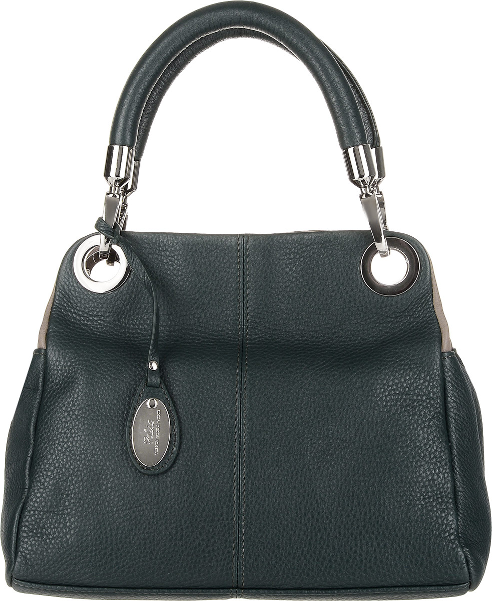 Сумка женская Palio, цвет: темно-зеленый, серо-коричневый. 4990FW7579995-400Стильная сумка Palio выполнена из натуральной кожи с зернистой фактурой, оформлена подвеской и металлической фурнитурой с символикой бренда.Сумка содержит два отделения, которые закрываются на застежки-молнии. Внутри изделия расположен врезной карман на молнии и два накладных кармана для телефона и мелочей. Изделие оснащено двумя съемными ручками и съемным плечевым ремнем, длина которого регулируется при помощи пряжки. Ручки сумки дополнены фурнитурой из металла.Оригинальный аксессуар позволит вам завершить образ и быть неотразимой.