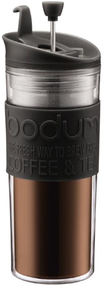 Френч-пресс Bodum Travel, цвет: черный, 450 млVT-1520(SR)Френч-пресс Bodum Travel позволит быстро и просто приготовить свежий и ароматный чай или кофе. Корпус изготовлен из высококачественного жаропрочного стекла, устойчивого к окрашиванию, царапинам и термошоку. Фильтр-поршень из нержавеющей стали выполнен по технологии press-up для обеспечения равномерной циркуляции воды. Готовить напитки с помощью френч-пресса очень просто.