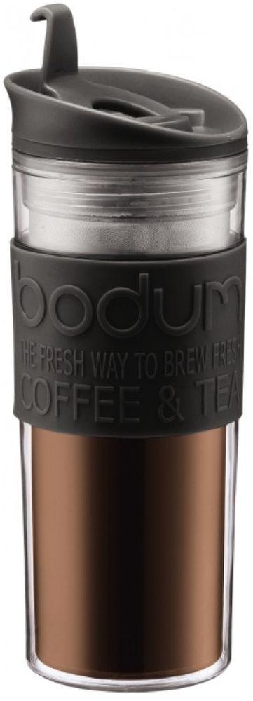 Термокружка Bodum Travel, цвет: черный, 450 млVT-1520(SR)Термокружка Bodum Travel обязательно будет кстати в путешествии. Кружка выполнена из пластика и оснащена закручивающейся крышкой, в которой есть небольшой клапан с отверстием для питья. Это исключает выплескивание жидкости и позволяет использовать кружку даже во время поездок в автомобиле.Такая кружка будет незаменима на пикнике, в офисе, в автомобильной поездке.