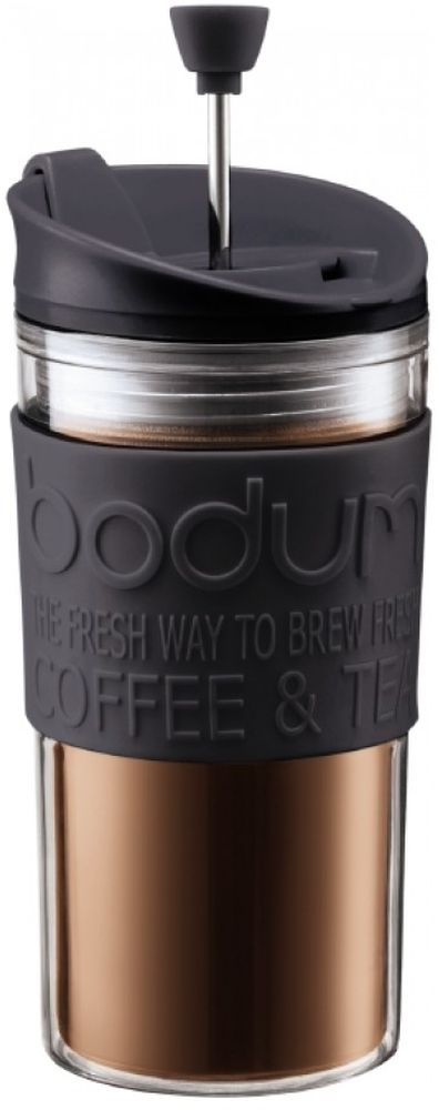 Френч-пресс Bodum Travel, цвет: черный, 350 мл391602Френч-пресс Bodum Travel позволит быстро и просто приготовить свежий и ароматный чай или кофе. Корпус изготовлен из высококачественного жаропрочного стекла, устойчивого к окрашиванию, царапинам и термошоку. Фильтр-поршень из нержавеющей стали выполнен по технологии press-up для обеспечения равномерной циркуляции воды. Готовить напитки с помощью френч-пресса очень просто.