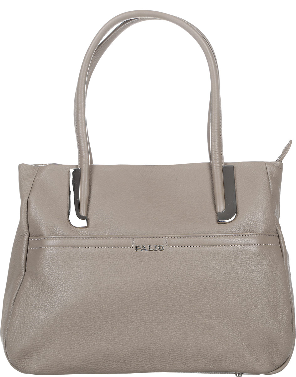 Сумка женская Palio, цвет: серо-коричневый. 11840A-C210931-1Стильная сумка Palio выполнена из натуральной кожи с зернистой фактурой, оформлена металлической фурнитурой с символикой бренда.Сумка содержит одно отделение, которое закрывается на застежку-молнию. Внутри изделия расположен врезной карман на молнии и два накладных кармана для телефона и мелочей, карман-средник на молнии. Снаружи, в лицевой стенке сумки, размещен накладной карман на молнии. В тыльной стенке сумки размещен врезной карман на молнии. Изделие оснащено двумя практичными ручками, которые позволят носить сумку, как в руках, так и на плече. Ручки сумки дополнены фурнитурой из металла. Дно сумки оснащено металлическими ножками, которые защитят изделие от преждевременных повреждений.Оригинальный аксессуар позволит вам завершить образ и быть неотразимой.