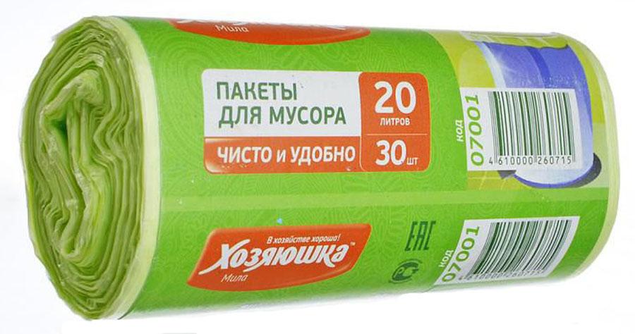 Пакеты для мусора Хозяюшка Мила, цвет: зеленый, 20 л, 30 шт07001-120Пакеты для мусора Хозяюшка Мила, выполненные из полиэтилена, обеспечивают чистоту и гигиену в квартире. Они удобны для сбора и удаления мусора, занимают мало места, практичны в использовании. Широко применяются в быту и на производстве. Специальная перфорация позволяет легко отделить пакет от рулона.Объем мешка: 20 л.Количество в упаковке: 30 шт.Длина мешка: 46,5 см.