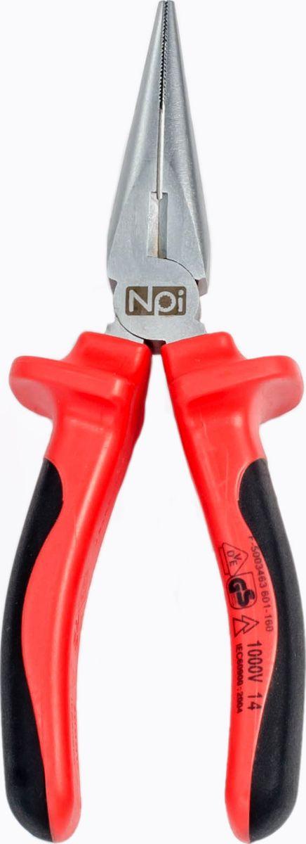 Плоскогубцы удлиненные NPI, прямые, электрозащищенные 1000 В, 160 ммFS-80423Удлиненные прямые плоскогубцы NPI, закаленные дополнительно индуктивным методом, изготовлены из высокопрочной хром-ванадиевой стали. Губки плоско-круглые, прямые с боковыми режущими кромками. Плоскогубцы надежны и рассчитаны на профессиональные нагрузки. Двухкомпонентная эргономическая рукоятка, обеспечивает удобную работу и электрозащищенность 1000 В. Дополнительно закаленные режущие кромки отличаются высокой твердостью. Твердость режущих кромок 55-60 HRC. Удлиненные прямые плоскогубцы NPI подходят для работы, как с мягкой, так и с твердой проволокой.Длина инструмента: 160 мм.