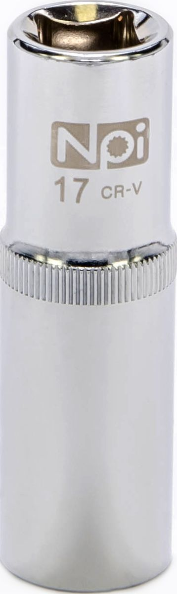 Головка торцевая NPI, удлиненная, 1/2, 17 мм10017Торцевая головка NPI выполнена из высокопрочной хром-ванадиевой стали и применяется с гайковертами, трещетками, воротками. Торцевая головка выполнена по технологии Суперлок. Торцевая головка обеспечивает максимальный крутящий момент по отношению к резьбе и выдерживает ударные нагрузки. Размер шестигранника: 17 мм. Высота головки: 77 мм. Размер ключа (дюймы): 1/2 .Посадочный размер: 1/2.Диаметр узкой части: 22 мм. Диаметр широкой части: 24 мм.