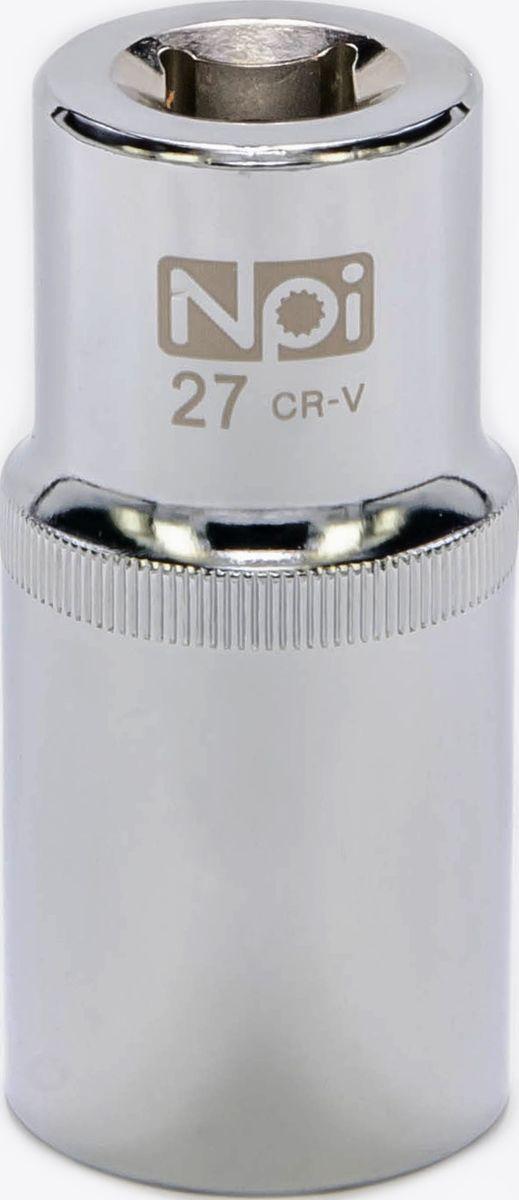 Головка торцевая NPI, удлиненная, 1/2, 27 ммAT-FCS-02Торцевая головка NPI выполнена из высокопрочной хром-ванадиевой стали и применяется с гайковертами, трещетками, воротками. Торцевая головка выполнена по технологии Суперлок. Торцевая головка обеспечивает максимальный крутящий момент по отношению к резьбе и выдерживает ударные нагрузки. Размер шестигранника: 27 мм. Высота головки: 77 мм. Размер ключа (дюймы): 1/2 .Посадочный размер: 1/2.Диаметр узкой части: 31 мм. Диаметр широкой части: 36 мм.