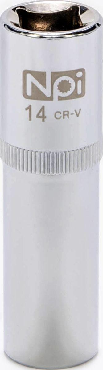 Головка торцевая NPI, удлиненная, 1/2, 14 мм20053Торцевая головка NPI выполнена из высокопрочной хром-ванадиевой стали и применяется с гайковертами, трещетками, воротками. Торцевая головка выполнена по технологии Суперлок. Торцевая головка обеспечивает максимальный крутящий момент по отношению к резьбе и выдерживает ударные нагрузки. Размер шестигранника: 14 мм. Высота головки: 77 мм. Размер ключа (дюймы): 1/2 .Посадочный размер: 1/2.Диаметр узкой части: 21 мм. Диаметр широкой части: 22 мм.