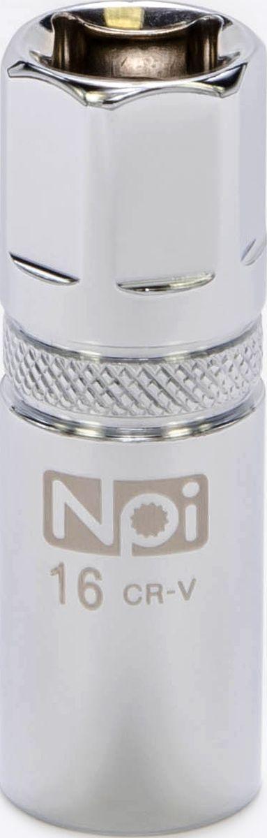 Головка торцевая NPI, свечная с магнитом, 1/2, 16 ммFS-80423Свечная торцевая головка NPI с впрессованным магнитом применяется при снятии и установке свечей зажигания. Изготовлена из высокопрочной хром-ванадиевой стали. Специальные фрикционные насечки на внешней стороне головки предотвращают ее выскальзывание из рук.Свечная головка: 16 мм.Высота головки: 65 мм. Тип: 1/2. Размер ключа (метрический): 16 мм.
