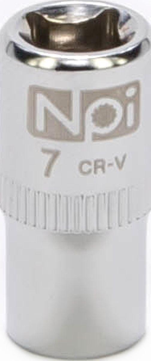 Головка торцевая NPI SuperLock, 1/4, 7 мм10102Торцевая головка NPI выполнена из высокопрочная хром-ванадиевой стали и применяется с гайковертами, трещетками, воротками. Торцевая головка выполнена по технологии Суперлок. Торцевая головка обеспечивает максимальный крутящий момент по отношению к резьбе и выдерживает ударные нагрузки. Размер ключа (метрический): 7 мм.Размер ключа (дюймы): 1/4 .Посадочный размер: 1/4.Длина головки: 25 мм.