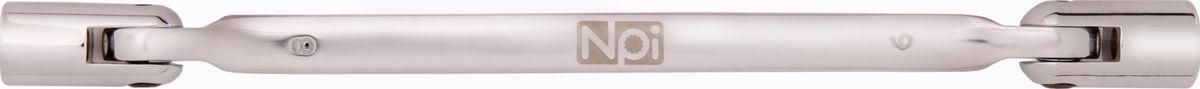 Ключ торцевой NPI, шарнирный, 8 х 9 ммCA-3505Торцевой шарнирный ключ NPI изготовлен из высокопрочной хром-ванадиевой стали. Форма головки - двенадцатигранник, головка выполнена по технологии Суперлок. Угол наклона головки 220 градусов.Длина инструмента: 185 мм.