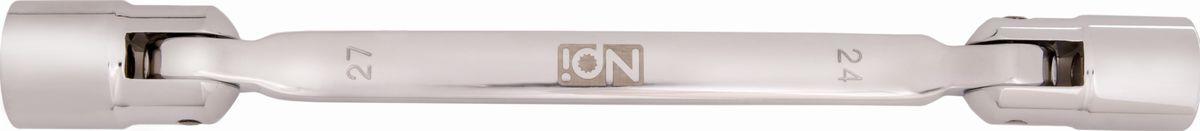 Ключ торцевой NPI, шарнирный, 24 х 27 ммCA-3505Торцевой шарнирный ключ NPI изготовлен из высокопрочной хром-ванадиевой стали. Форма головки - двенадцатигранник, головка выполнена по технологии Суперлок. Угол наклона головки 220 градусов.Длина инструмента: 330 мм.