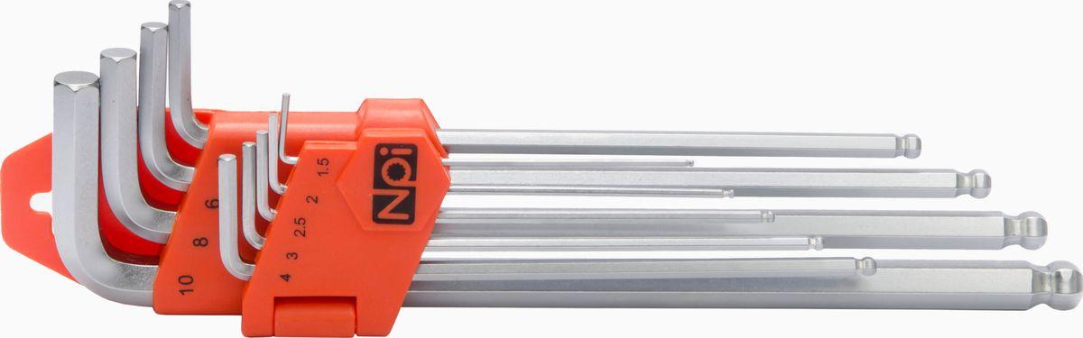 Набор шестигранных ключей NPI, 1.5-10 мм, 9 штCA-3505Набор шестигранных ключей NPI изготовлен из высококачественной стали SNCM+V (хром-молиблен-ванадиевая). Наконечники шаровидные, рабочий угол 30 градусов. Наконечники шестигранные: 1.5, 2, 2.5, 3, 4, 5, 6, 8, 10 мм.