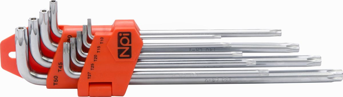 Набор шестигранных ключей NPI, Torx T10-T50, 9 штCA-3505Набор шестигранных ключей NPI изготовлен из высококачественной хром-ванадиевой стали. Ключи имеют магнитные наконечники. Наконечники Torx: T10, T15, T20, T25, T27, T30, T40, T45, T50.
