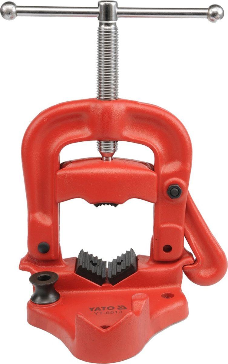 Тиски Yato, для фиксации труб, до 2,5YT-6511Откидные тиски Yato изготовленны из высококачественного чугуна с шаровидным графитом. Зажимы сделаны из стали, что обеспечивает надежный захват на трубе и предотвращая их от вращения во время работы.Максимальный диаметр труб: 2,5.