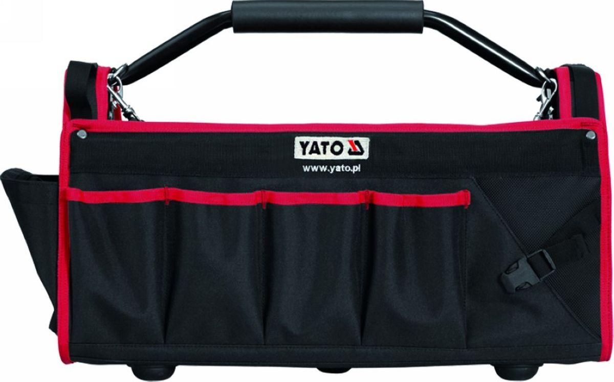 Сумка для инструментов Yato, цвет: черный, красный, 49 x 23 x 28 смYT-7435Сумка Yato специально разработана для хранения и транспортировки инструмента. Она изготовлена из прочного синтетического водонепроницаемого материала и имеет практически неограниченный срок службы, а также превосходно защищает инструменты даже при работе в полевых условиях. Внутри сумки имеются специальные карманы для хранения и быстрого доступа к инструменту. На боковых стенках имеются карманы для ключей, плоскогубцев и других инструментов. Сумка снабжена прочной ручкой и лямкой на плечо. Дно сумки оснащено ножками.Сумка для инструментов Yato позволяет поддерживать чистоту на рабочем месте.