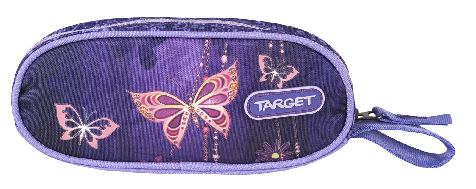 Target Collection Пенал Золотая бабочка17984Пенал овальный школьный. Без наполнения. Размер: 21 x 9 x 4 см. Материал: Полиэстер. Предназначен для школьников 6-16 лет. Застежка-молния.