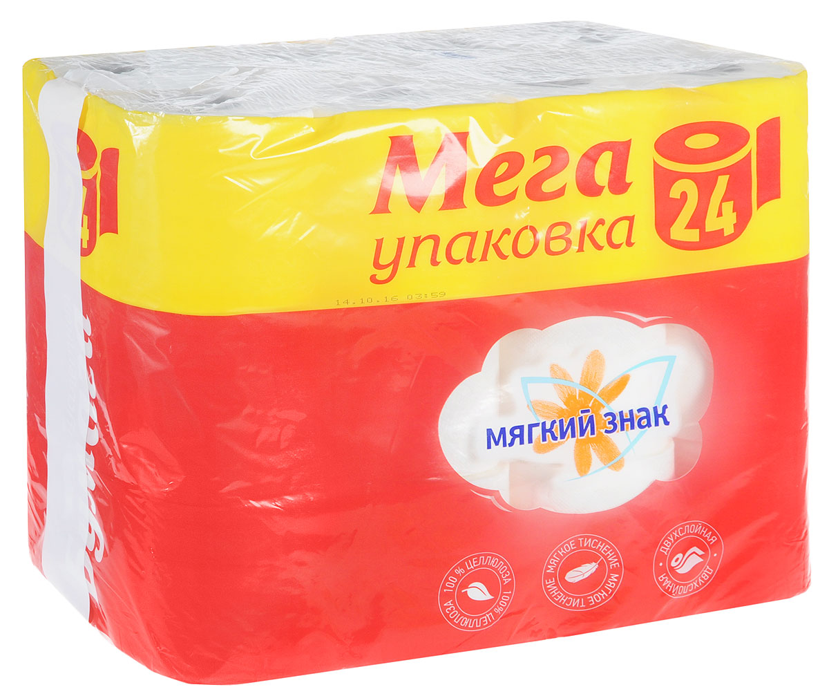 Туалетная бумага Мягкий знак, двухслойная, 24 рулона391602Туалетная бумага Мягкий знак, выполненная из натуральной целлюлозы, обеспечивает превосходный комфорт и ощущение чистоты и свежести. Необыкновенно мягкая, но в тоже время прочная, бумага не расслаивается и отрывается строго по линии перфорации, не вызывает аллергии и раздражения.Двухслойные листы имеют рисунок с перфорацией. Количество листов: 130±6 шт, Количество слоев: 2. Размер листа: 12,5 х 9,6 см.