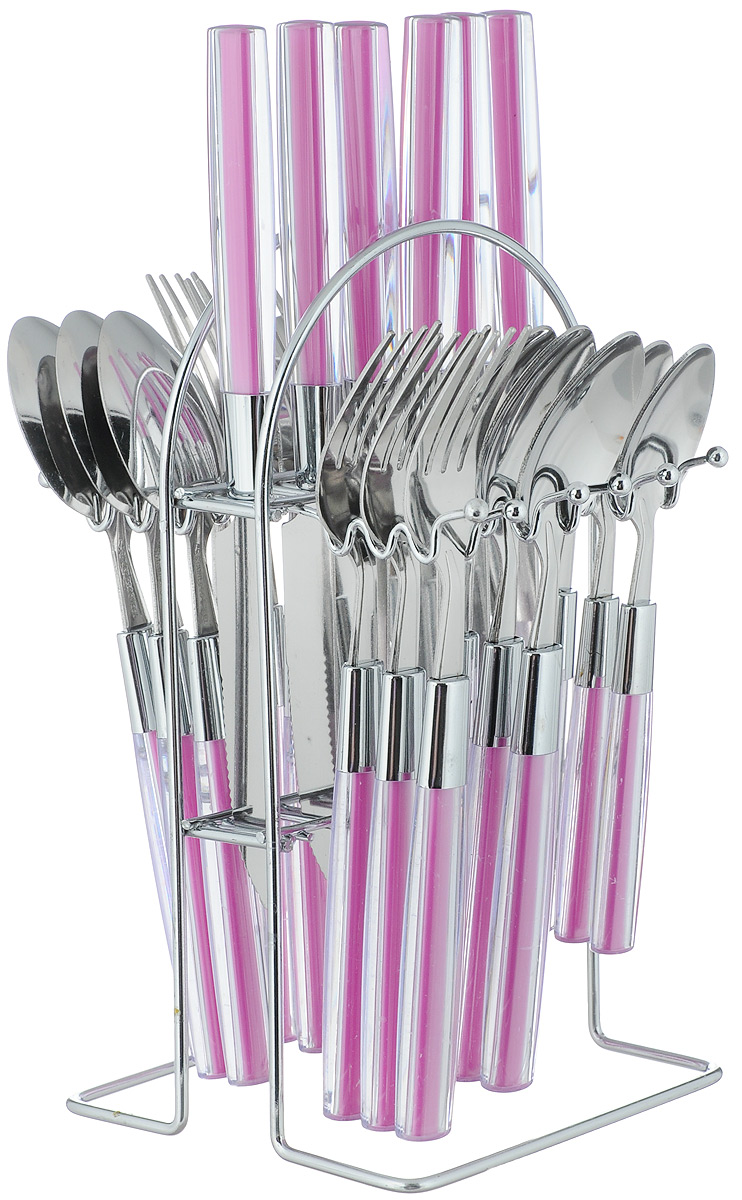 Набор столовых приборов Mayer & Boch Modern, на подставке, 25 предметов22492-1_фиолетовыйВ набор Mayer & Boch входят 25 предметов: 6 столовых ножей, 6 столовых ложек, 6 столовых вилок, 6 чайных ложек и подставка, выполненных из высококачественной нержавеющей стали и пластика. Прекрасное сочетание яркого дизайна и удобство использования предметов набора придется по душе каждому.Набор столовых приборов Mayer & Boch подойдет для сервировки стола как дома, так и на даче, а также станетзамечательным подарком.Длина столовой ложки/вилки: 20,5 см. Длина чайной ложки: 16,5 см. Длина ножа: 22,5 см. Размер подставки: 12 х 13,5 х 23,5 см.