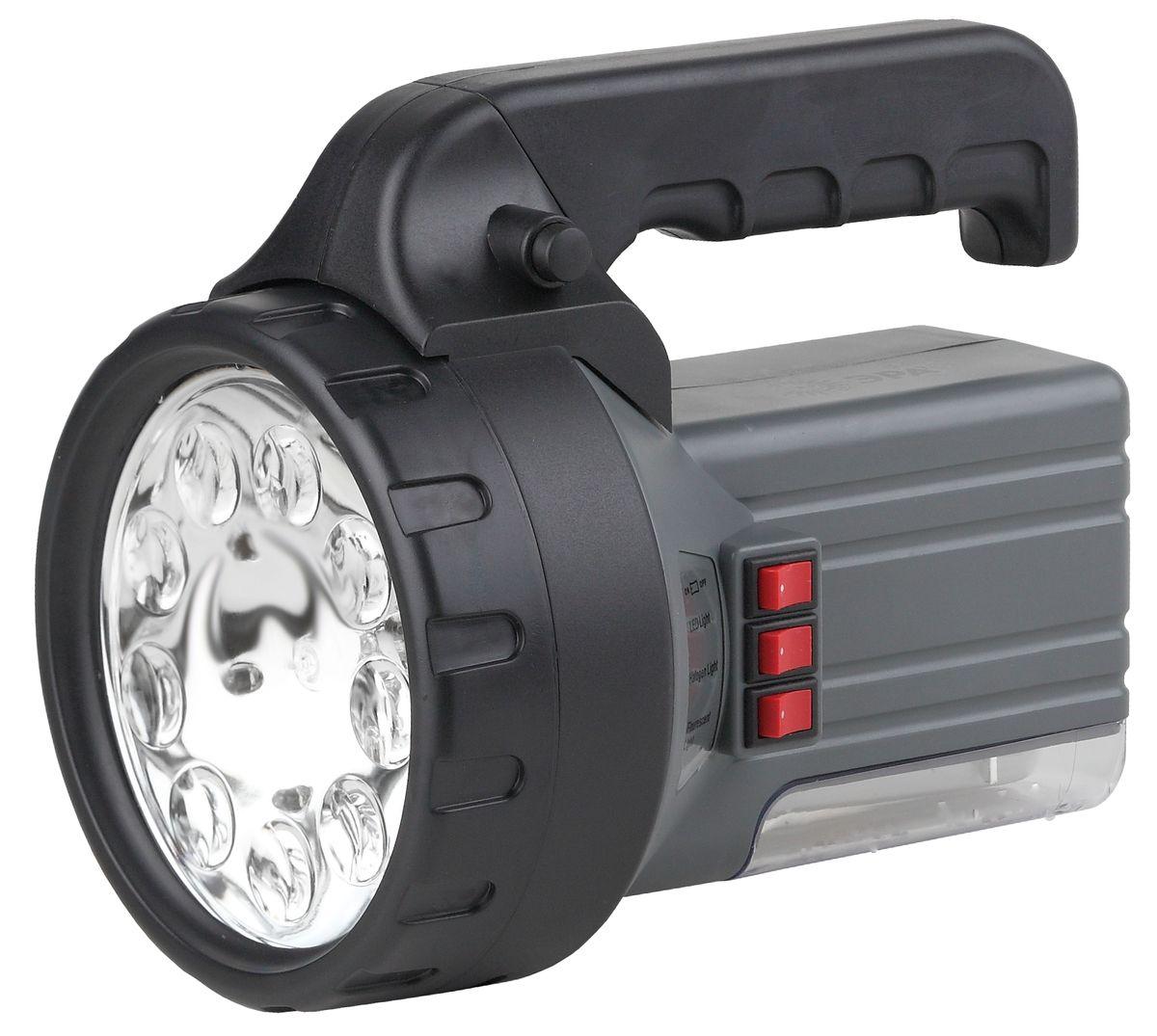Фонарь ручной ЭРА, 9xLED, галоген 10W, люм 7W, аккумулятор 6V2.5Ah, ЗУ 220VKOCAc6009LEDАккумуляторный светодиодный прожектор: 9 белых LED + галогенная лампа 10W + люмлампа 7W Аккумулятор 6V 2.5Ah подзарядка от сети 220V