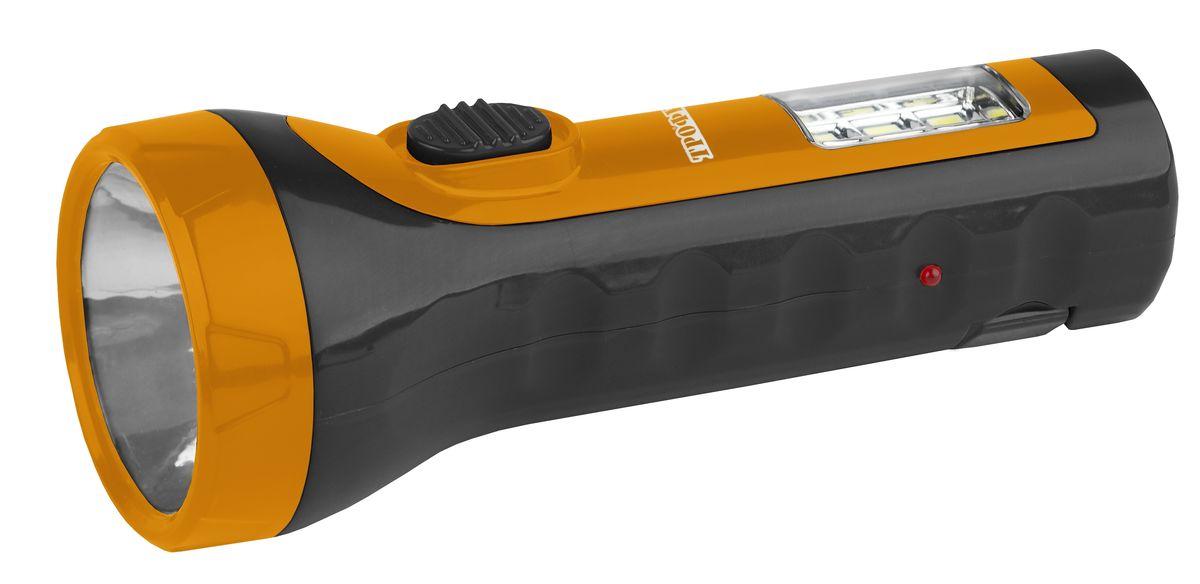 Фонарь ручной Трофи, 5 x LED+6 SMD, аккумулятор 4V 1Ahперфорационные unisexКомпактный аккумуляторный светодиодный фонарь Трофи 2в1: 5 светодиодов в головном фонаре6 x SMD светодиодов в светильнике Аккумулятор 4V 900mAhСкладная евровилка6 часов работы без подзарядки Упаковка: картонная коробка.