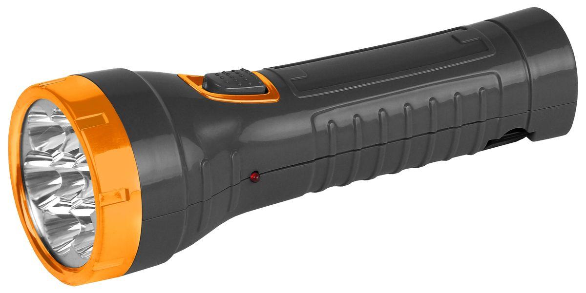 Фонарь ручной Трофи, 7 x LED, аккумулятор 4V 1AhTA7Компактный аккумуляторный светодиодный фонарь Трофи:7 белых светодиодов (2 режима работы)Аккумулятор 4V 900mAhСкладная евровилка6 часов работы без подзарядкиУпаковка: картонная коробка