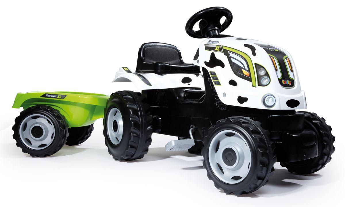 Добро пожаловать на ферму с этим веселым педальным трактором, стилизованным под корову! Трактор оснащен прицепом и предназначается для детей старше 3-х лет. На руле имеется клаксон, капот открывается. Сиденье регулируется.