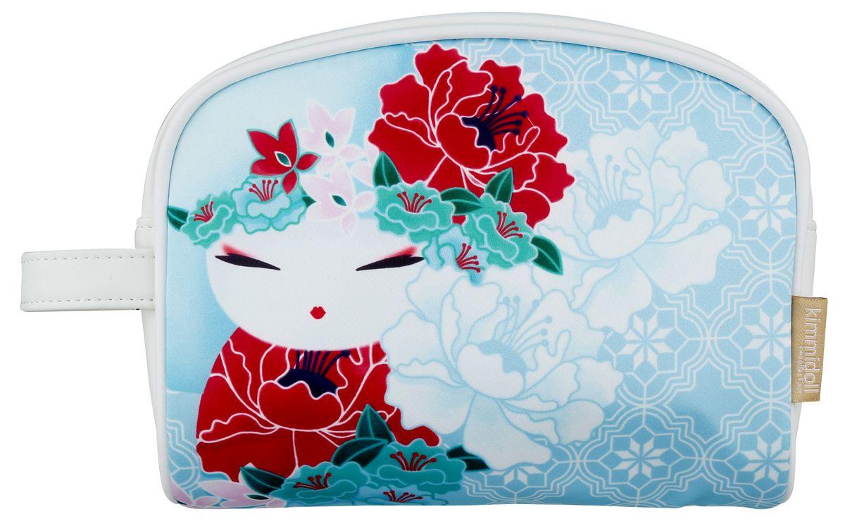 Косметичка женская Kimmidoll, цвет: светло-голубой. KF1101INT-06501Косметичка Kimmidoll, выполненная из искусственной кожи и сатина в традиционном японском стиле, придется по душе всем ценителям стильных вещиц. Она отлично подойдет для хранения косметики и нужных вещей. Изделие содержит одно отделение, закрывающееся на застежку-молнию. Тыльная сторона оформлена металлической пластиной с гравировкой Kimmidoll Collection. Косметичку можно использовать как пенал или дорожную аптечку.